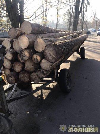 В Олевському районі поліцейські затримали трактор з деревиною без документів