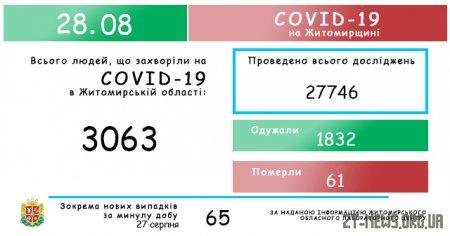 На Житомирщині за добу виявили 65 випадків коронавірусу