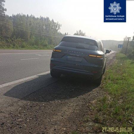 На Житомирщині водій автомобіля Porsche перевищив швидкість майже у 4 рази