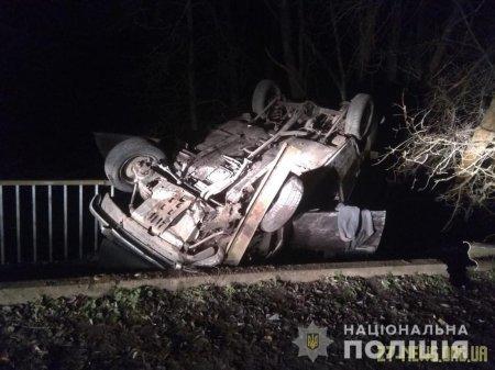 В Житомирській області на мосту ВАЗ перекинувся на дах