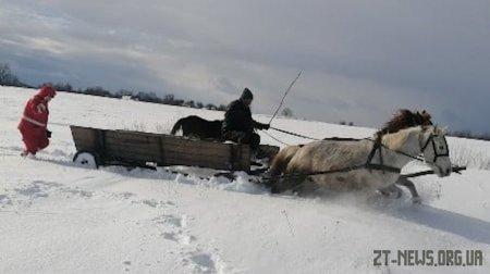 На Житомирщині дівчину через замети везли до лікарні кіньми, пожежним авто та автомобілем швидкої
